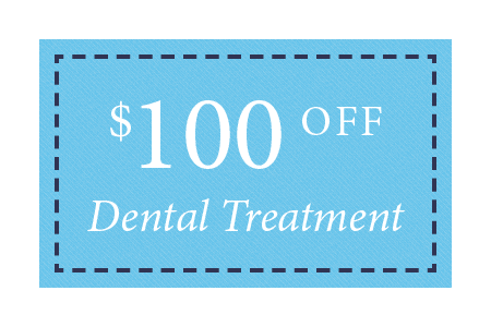 badge showing that new patients can choose to get $100 off their dental treatment with Denti Belli DDS
