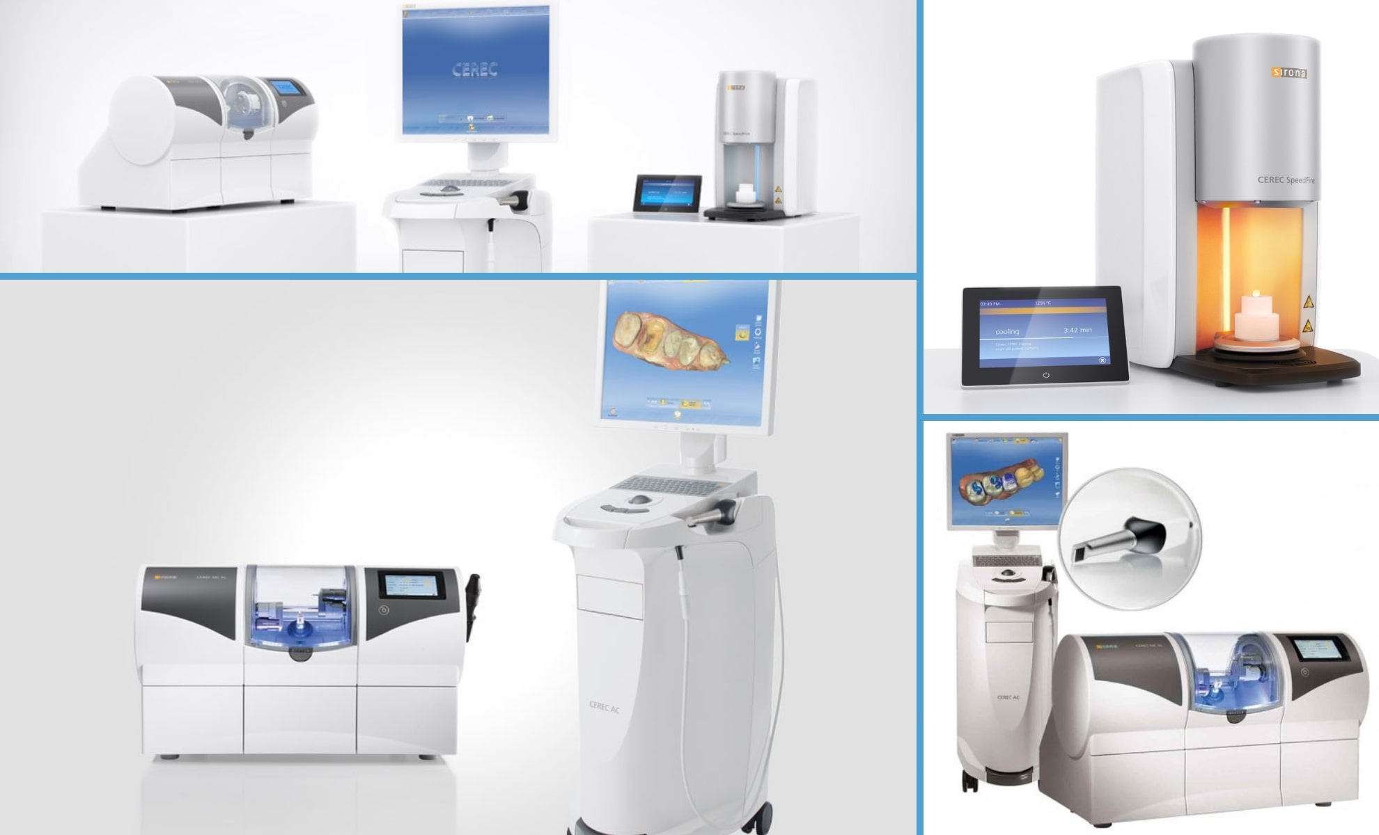 Multiple photos of the CEREC machine - a part of our same-day dentistry